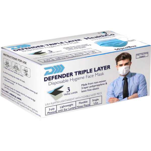 Defender Triple Layer Hygiene Mask Disposable (general use)