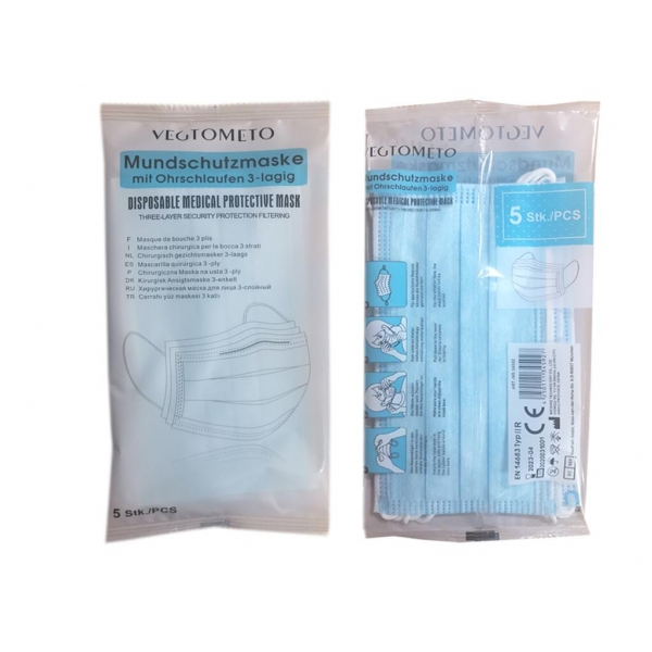 Type 2R 10 Masks (2 packs of 5) Disposable 3-layer Surgical Masks (£12-99)